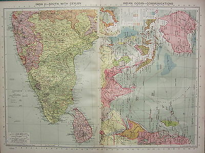 1940 MAP ~ INDIA SOUTH with CEYLON ~ INDIAN OCEAN COMMUNICATIONS ROUTES