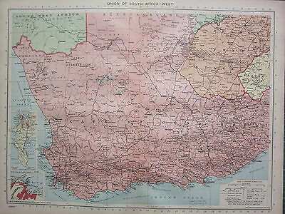 1940 Map ~ Union Of South Africa West ~ Cape Of Good Hope Cape Town