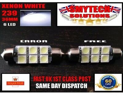 2x 36mm 6LED Error Free Xenon White Number Plate Bulb VW TRANSPORTER T4,T5 99-06