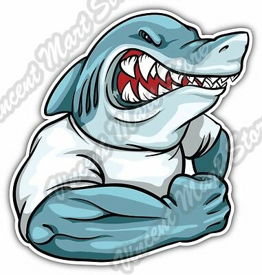 "Strong Arm Muscle Shark Cartoon Gift Idea Car Bumper Vinyl Sticker Decal 4""X5"""