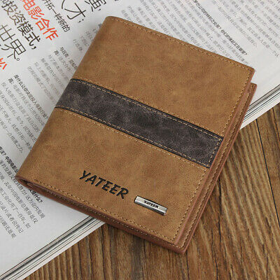 Fashion Bifold Men's Leather Wallet Credit ID Card  Multi Pockets Clutch Purse