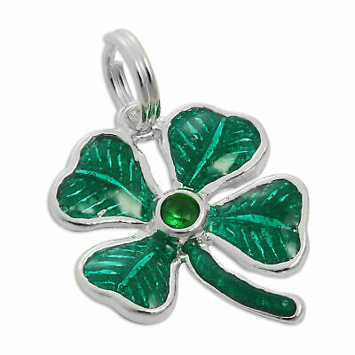 925 Sterling Silver & Green Enamel 4 Leaf Clover Charm Lucky Shamrock Charms