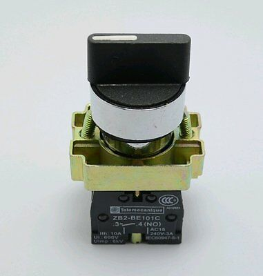 2Pcs XB2BD45C  Select Selector Switch NO NC 2 Positions Momentary Spring Return