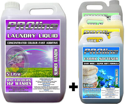 142 wash Colours Laundry Detergent 5ltr and 5ltr Fabric Softener 160 wash Combo