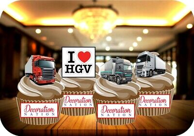 NOVELTY I Love HGV Lorry Mix 12-48 VANILLA Cake Toppers Edible Icing Trucks Boys
