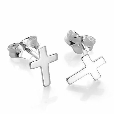 Small 925 Sterling Silver Cross Stud Earrings Christian Faith Crosses Studs
