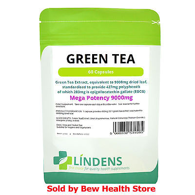 Green Tea Capsules 9000mg (60) - High Strength Fat Burner, Weight Loss (Lindens)