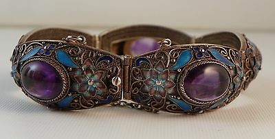 Chinese Bracelet.  Enameled Silver and Cabochon Amethyst.  Circa 1920