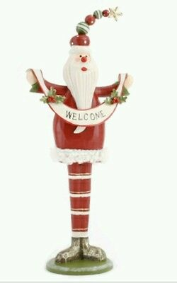 Wooden Standing Father Christmas/Santa.28cms.Wood ornament & metal Welcome sign