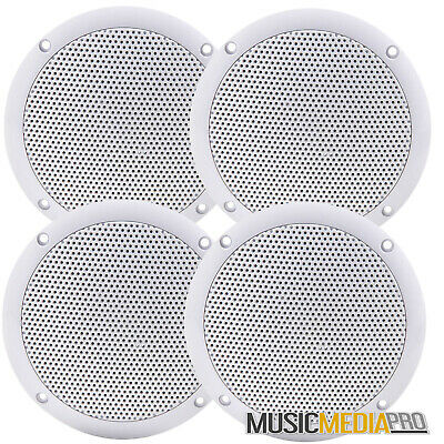 4x 80w Water Resistant Ceiling Speakers 8Ohm - Boats Kitchens Bathrooms Surround