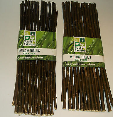 2 x Garden Expanding Willow Trellis Each one 30cm x 180cm (1.8m Approx)
