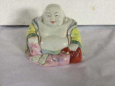 Chinese Beautiful Famille Rose Painted Porcelain Sitting Happy Buddha Statue