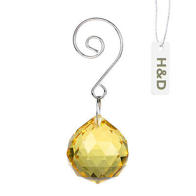 2 Yellow Hanging Crystal Ball Suncatcher Pendant Gift Bulk Prism Craft Drop 30mm