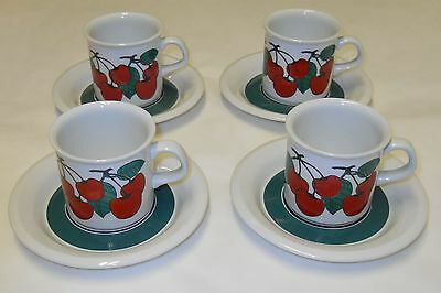 Arabia Kirsikka Cherry Vintage Coffee / Tea Cups & Saucers Arabia Finland
