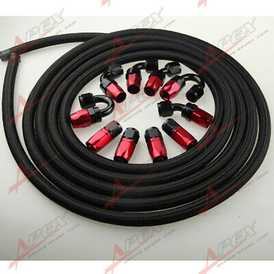 AN8 -8AN NYLON BRAIDED OIL/FUEL Hose + Fitting Hose End Adaptor Red And Black AU