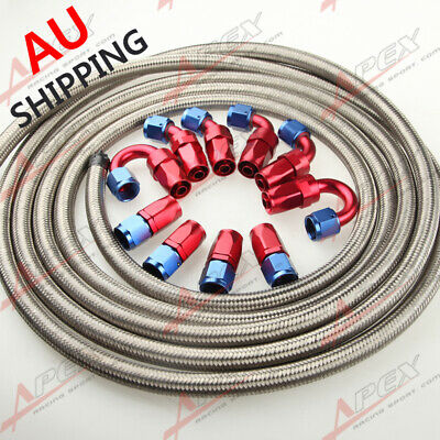 AN8 8-AN STAINLESS STEEL BRAIDED OIL/FUEL Hose + Fitting Hose End Adaptor Kit AU