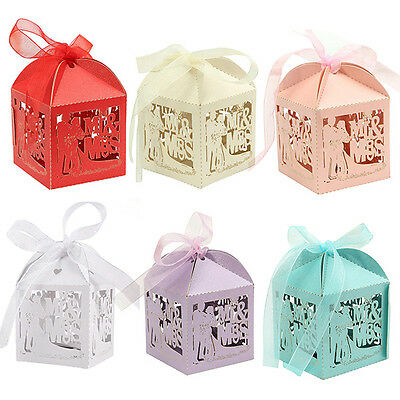 10x 50x MR & MRS Laser Cut Candy Gift Boxes With Ribbon Party Wedding Favor Box