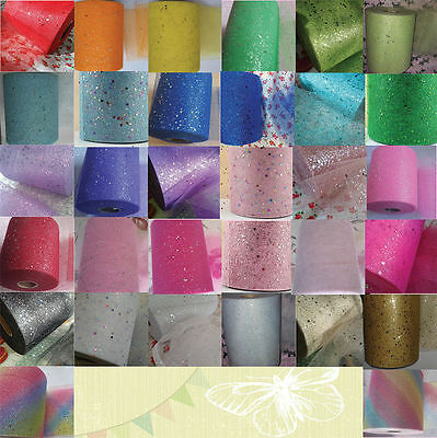 "Tulle glitter 1m 2 5 10 metre 52 colours 6"" 15cm sparkle NET crafts fabric tutu"