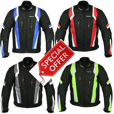 RKSports 1509 MENS WATERPROOF TEXTILE MOTORBIKE MOTORCYCLE JACKET CE ARMOUR
