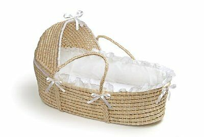 OpenBox Badger Basket Moses Basket with Hood and Bedding, Natural/White