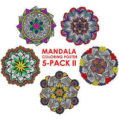Mandala Coloring Poster 5-Pack II - 22x22 Inch Wall Posters