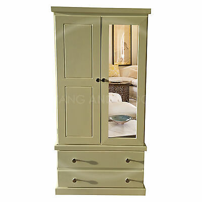 Hand Made Furniture Cambridge Single Mirrored Wardrobe Ivory/silver( Assembled)
