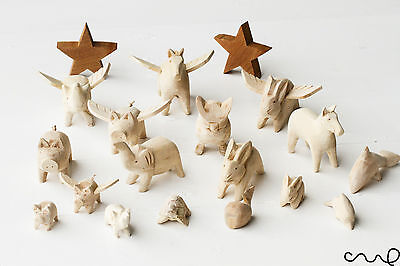 NEW Assorted Handmade Hand-carved Wooden Animals Figure Figurine Farm 17 Designs