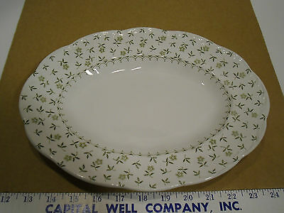 "English Staffordshire Sterling Forget Me Not Oval 12 1/4"" Serving Platter - EUC"