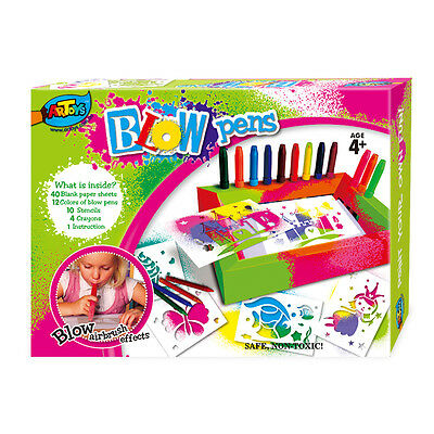 12 Colors Blow Pen Amazing Airbrush Effect Kids DIY Creation Great gift for girl