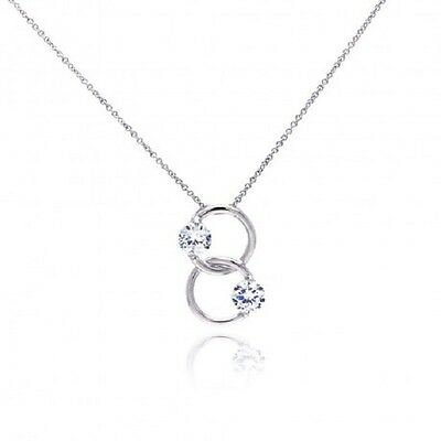 925 Sterling Silver Rhodium Plated Two Ring Two Round CZ Necklace