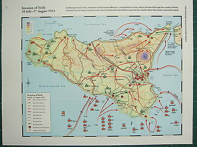 Ww2 Wwii Map ~ Invasion Of Sicily 10 July - 17 Aug 1943 Retreat Front Lines
