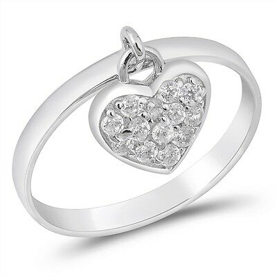 Sterling Silver 925 PRETTY DANGLE HEART CHARM CLEAR CZ RING 11MM SIZES 3-13