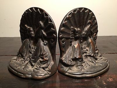 Antique CAST IRON or BRONZE Heavy Siam Asian Kissing Asian Couple BOOKENDS