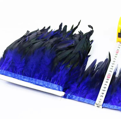 BLUE BRONZE Rooster Coque Feather Fringe Ribbon Trim DIY Craft Price for 30cm