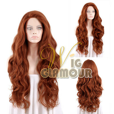 "Long Curly Wavy 28"" Reddish Brown Lace Front Wig Heat Resistant"