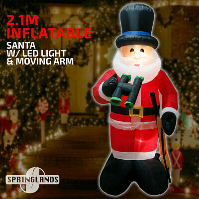 Inflatable Santa Moving Arm Built-in LED, Animated Xmas Decoration Airblown