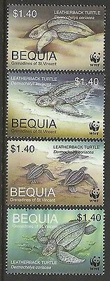 ST VINCENT GRENADINES BEQUIA WWF WORLD WILDLIFE FUND 2001 TURTLES 4v MNH