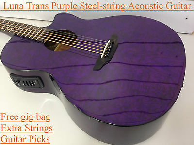 GYP E QA TPP Gypsy Quilted Ash Acoustic-Electric Guitar Trans Purple + Gig bag