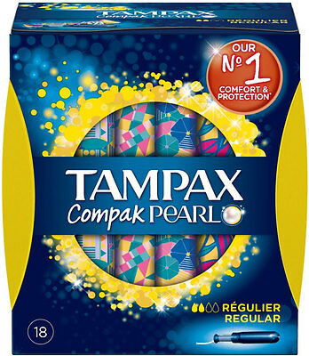 Tampax Compak Pearl Regular Applicator Tampons (18)
