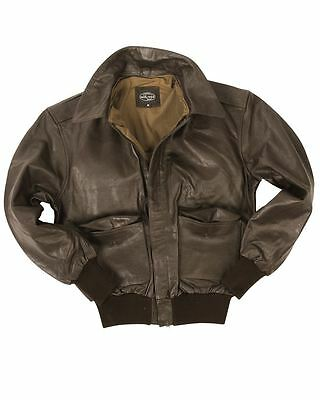 Mil-Tec A2 Leather Flight Jacket Classic Military Army Mens Bomber Brand New
