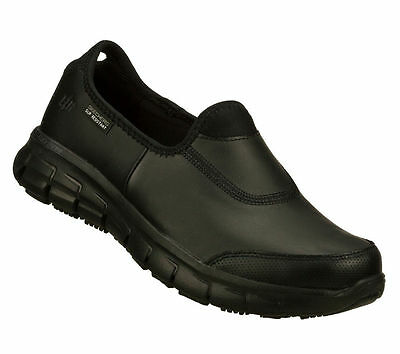 76536 Black Skechers Sure Track Womens Work Shoes Slip Sole Resistant