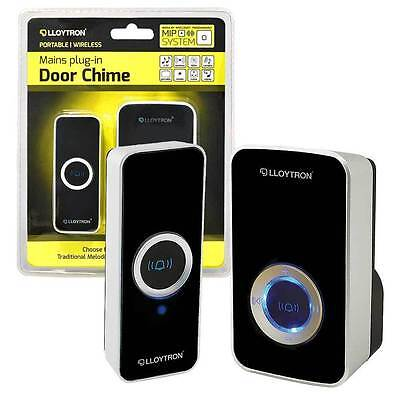 Lloytron Plug In Wireless Portable Musical Door Chime - 32 Melodies - Black