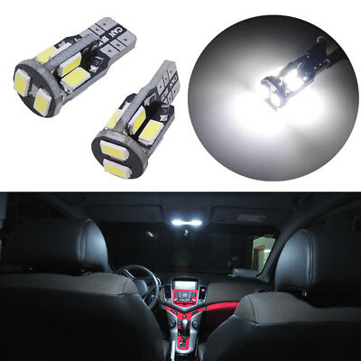 2x HID White 168 194 2825 W5W Car Interior Map Dome Lights T10 10-SMD LED Bulbs