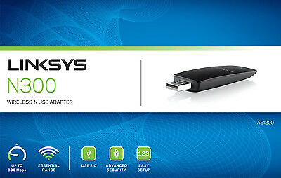 Linksys AE1200 Wireless N300 USB WLAN Adapter 2x interne MIMO-Antennen