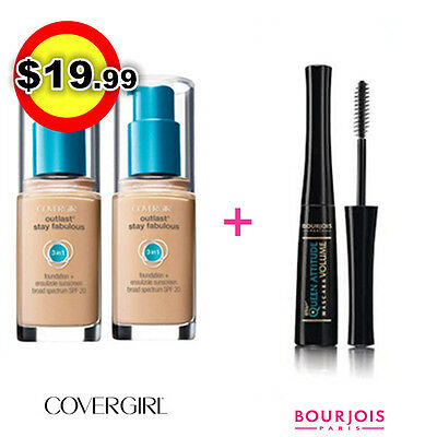 TWO Covergirl Outlast 3 in 1 Foundation 805 IVORY + Bourjois Queen Mascara Black