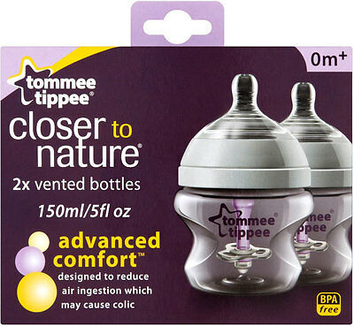 Tommee Tippee Closer to Nature Advanced Comfort Baby Feeding Bottles 150ml (2)