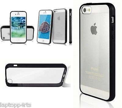 Ultra Thin Super Slim Crsystal Clear Hard Back Case For iPhone 5s Se & 5 Black