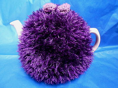 Funky fluffy tea cosy hand knitted in Wales PURPLE