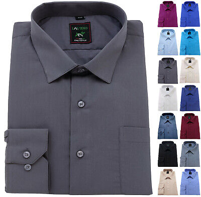 Mens BIG sizes Plain Cotton Shirt Regular Collar 19-21 Formal Casual Long Sleeve