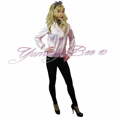 Fancy Dress Ladies Pink Jacket Outfit Hen 50s Party Womens Plus Size 6-22 Adult